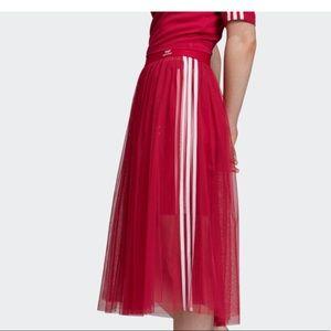 adidas Skirts - Adidas Womens Tulle Long Pink White Stripe Skirt